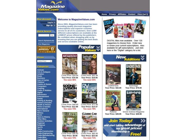 Magazine Values screenshot