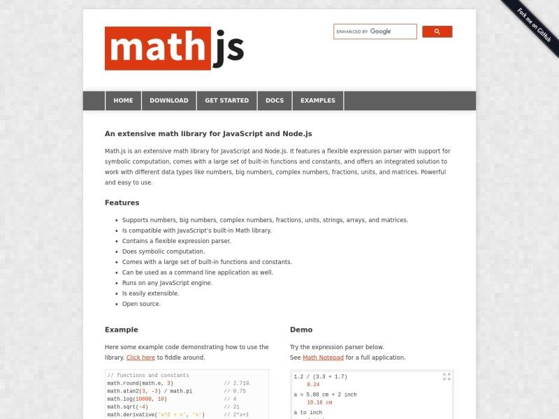 math.js | JavaScriptでできた数学ライブラリ