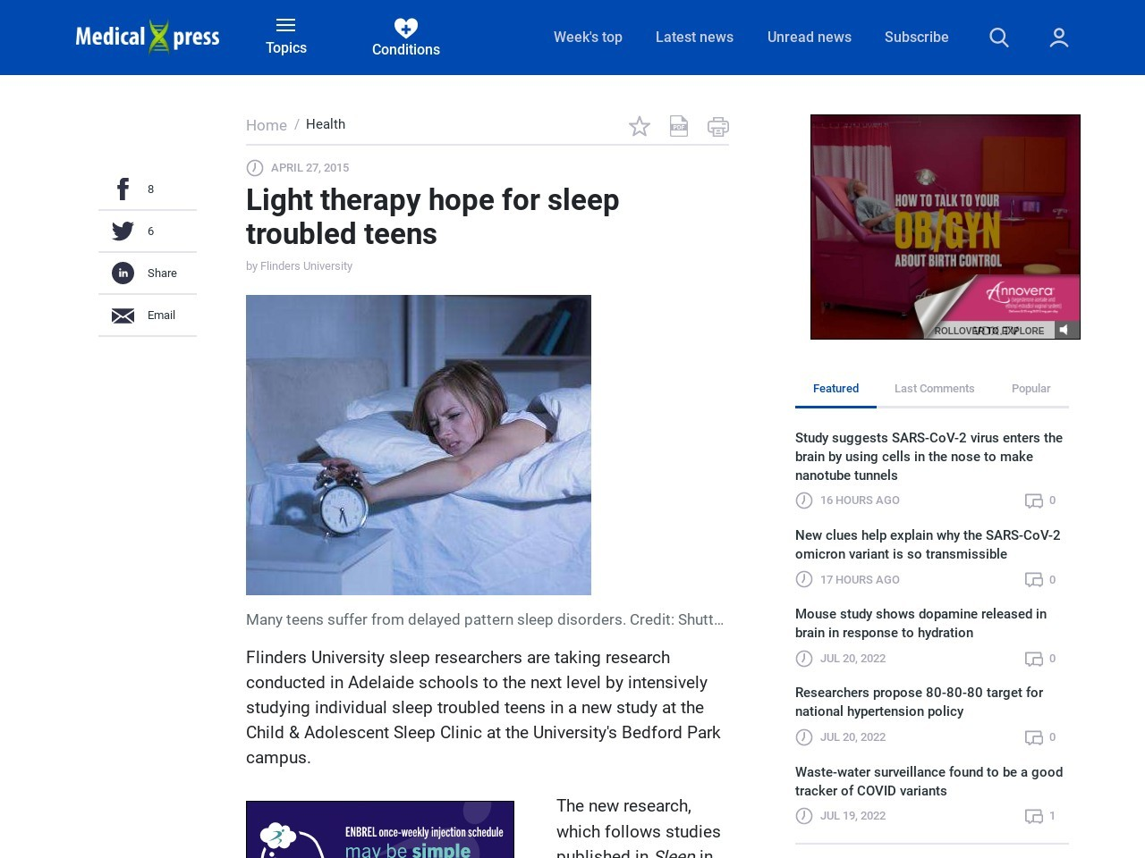 Light therapy hope for sleep troubled teens – Medical Xpress