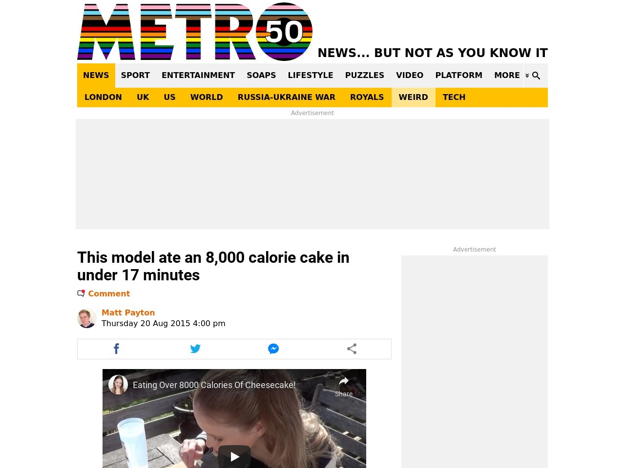 This model ate an 8,000 calorie cake in under 17 minutes