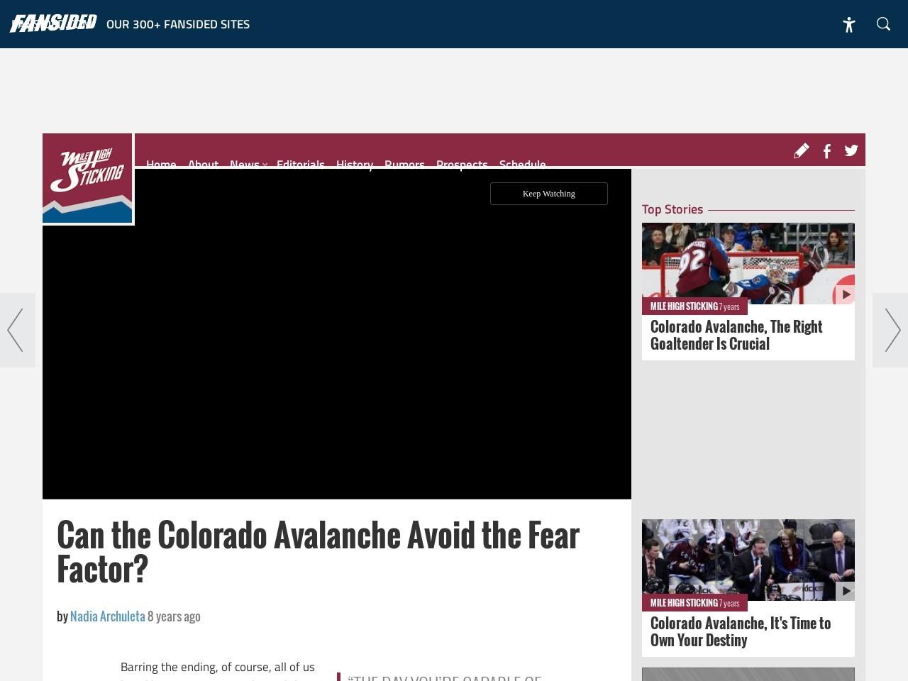 Can the Colorado Avalanche Avoid the Fear Factor?
