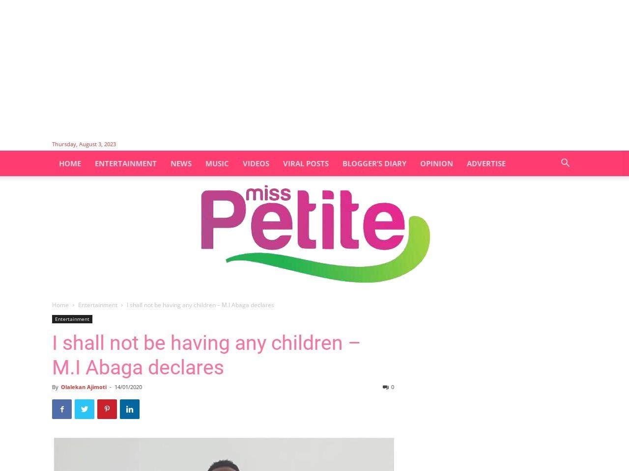 I shall not be having any children – M.I Abaga declares