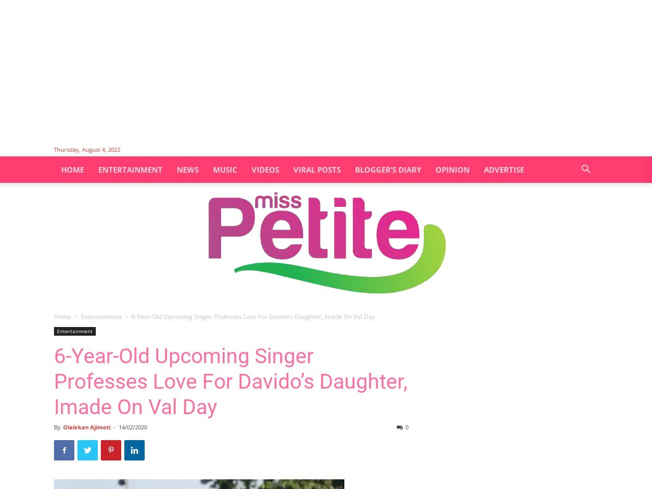 6-Year-Old Upcoming Singer Professes Love For Davido's Daughter, Imade On Val Day