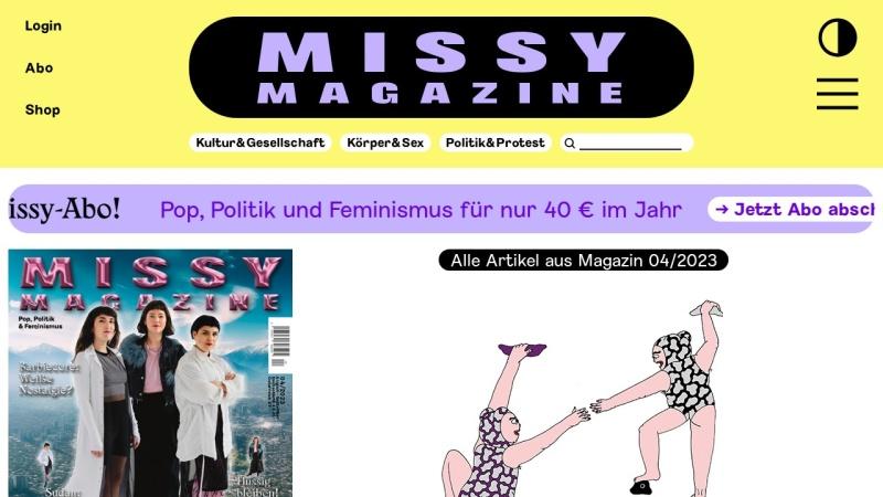 missy-magazine.de Vorschau, Missy Magazine