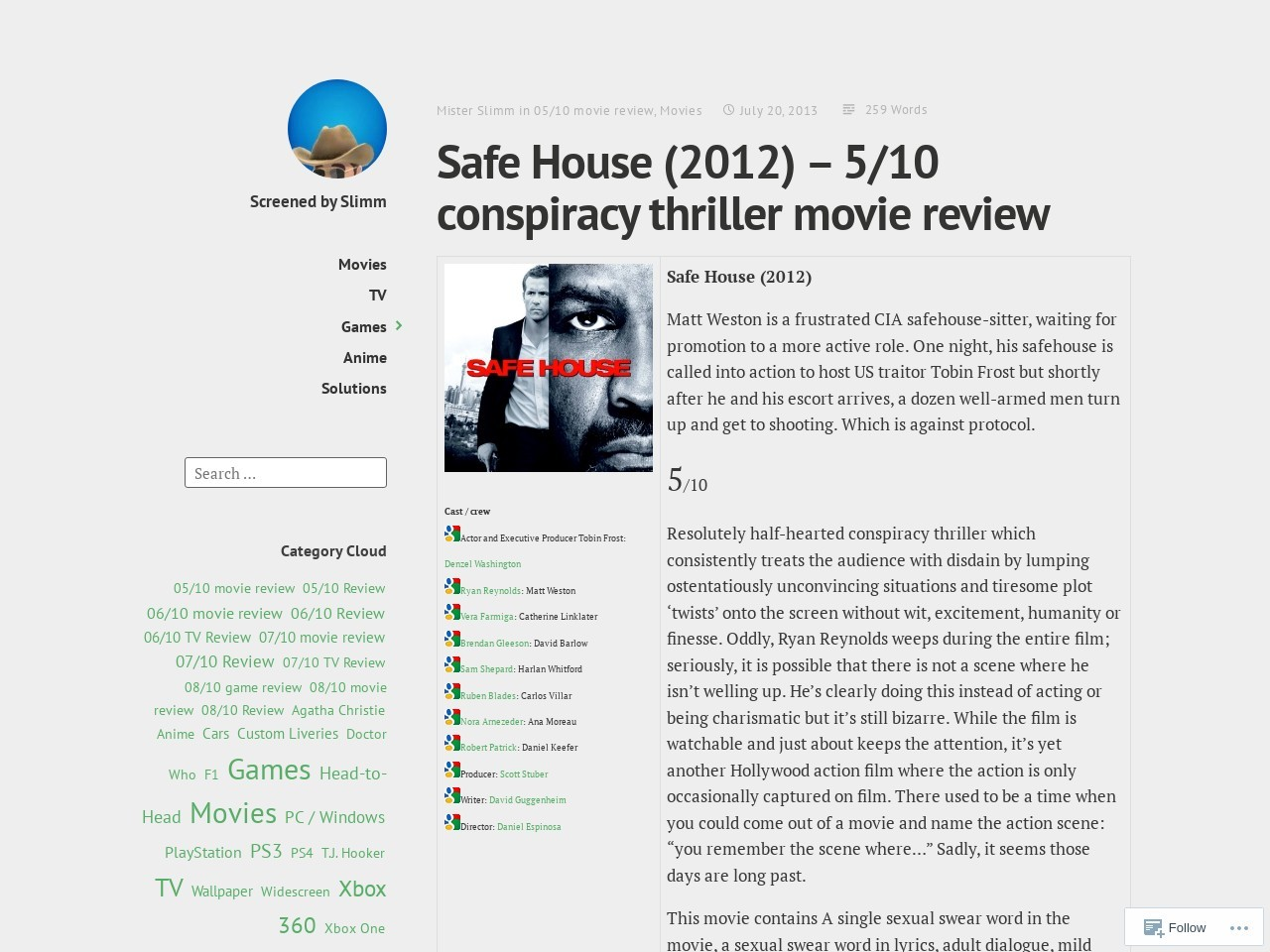 Safe House (2012) – 5/10 conspiracy thriller movie review …