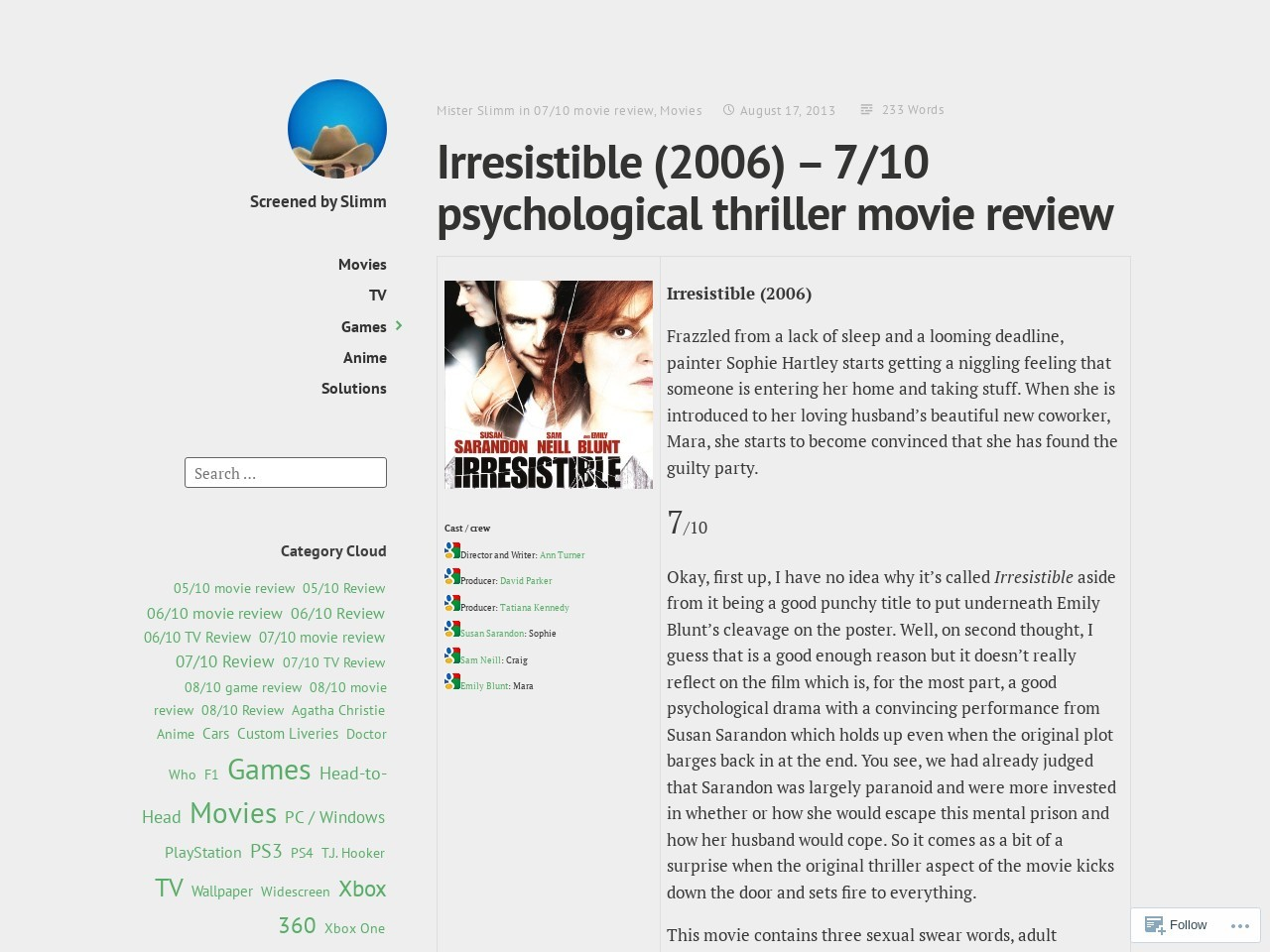 Irresistible (2006) – 7/10 psychological thriller movie review …