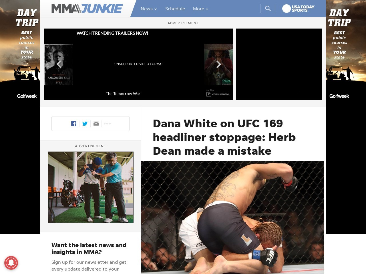 Dana White on UFC 169 headliner stoppage: Herb Dean made a …