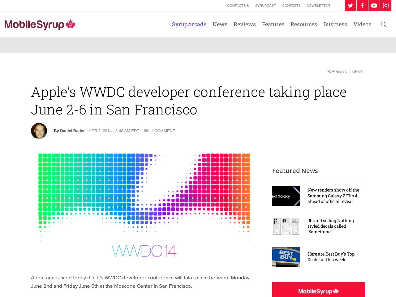 Apple's WWDC developer conference taking place June 2-6 in San …
