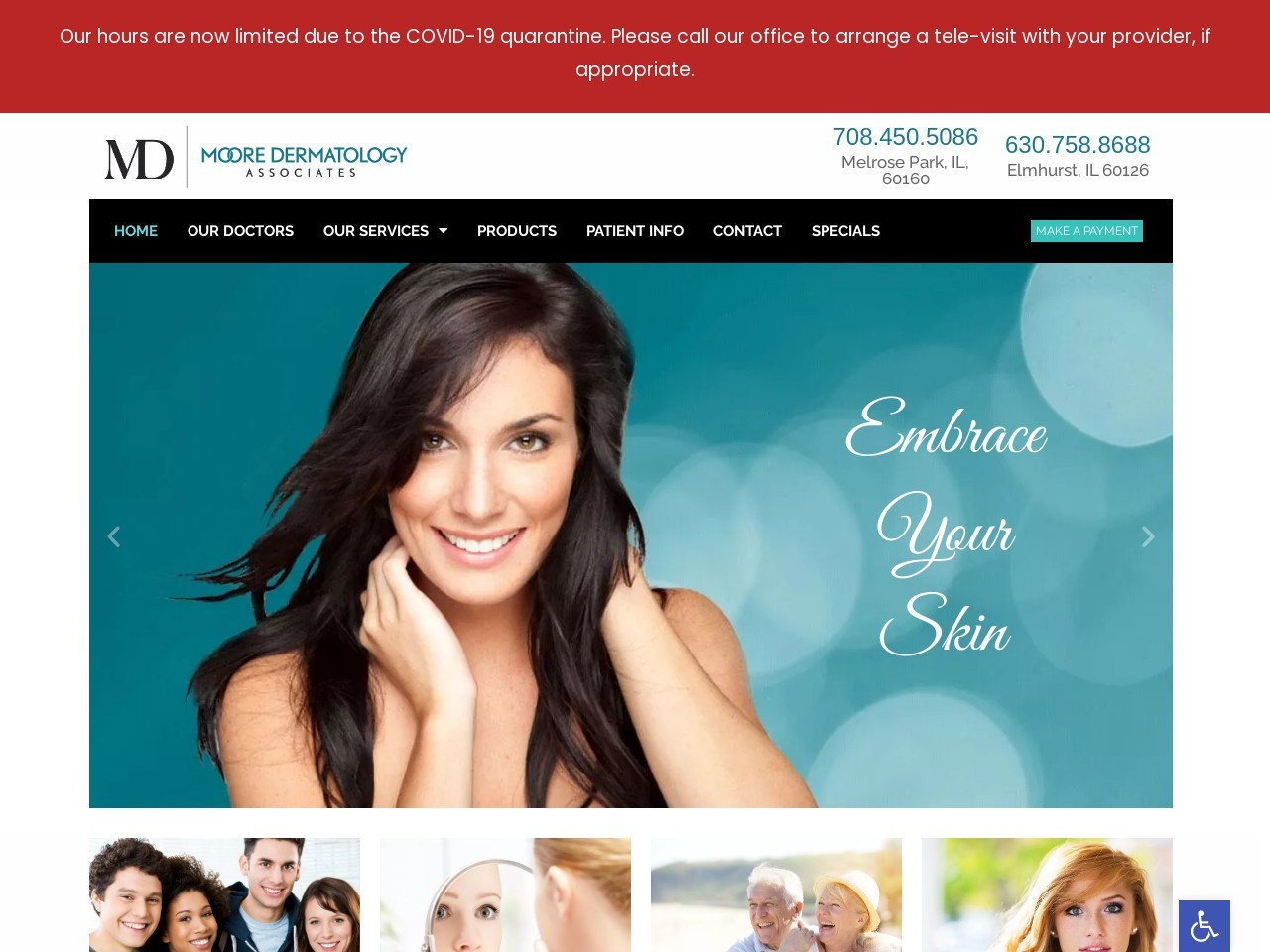 mooredermatology.com screenshot