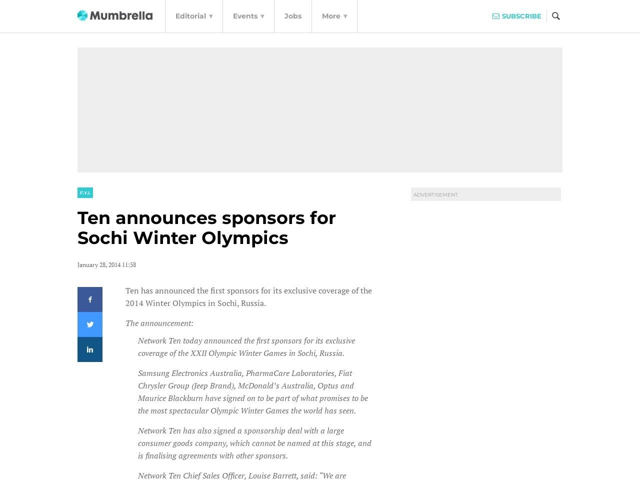 Ten announces sponsors for Sochi Winter Olympics – mUmBRELLA