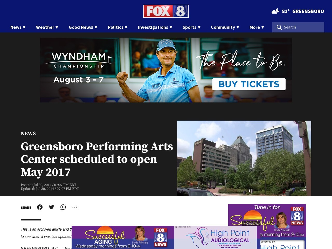 Greensboro Performing Arts Center scheduled to open May …