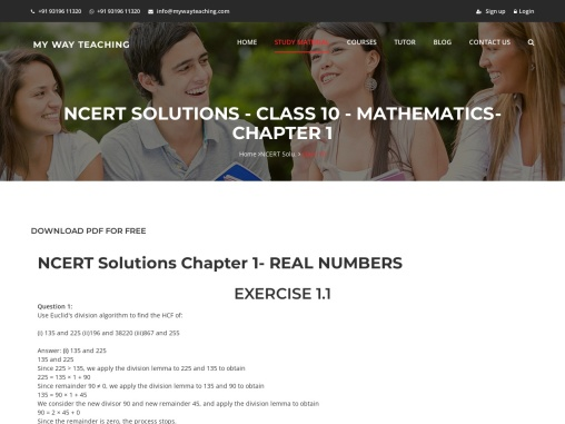 NCERT Solution Class 10 Math Chapter 1