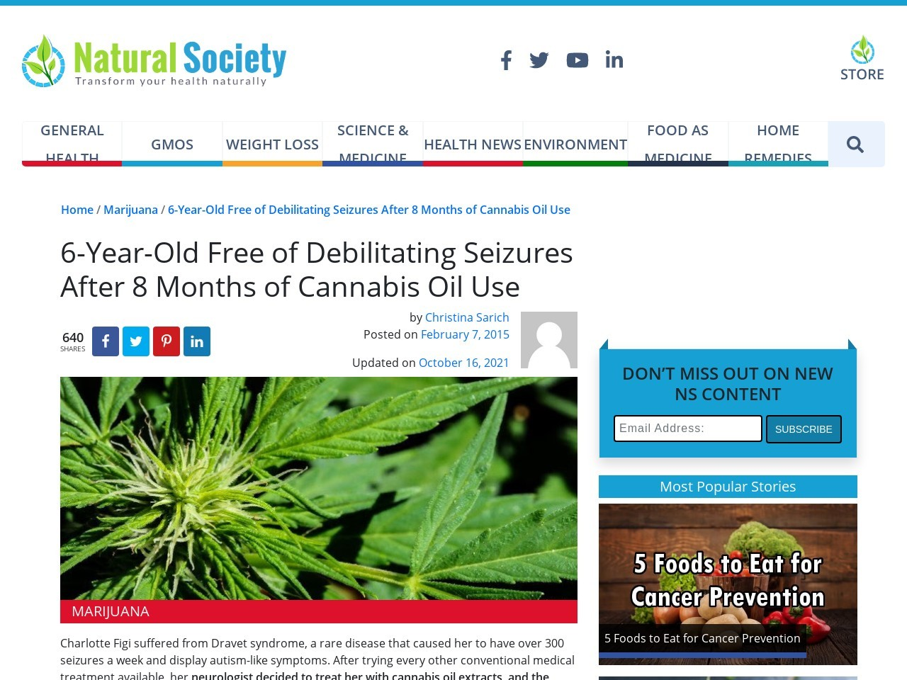 6-Year-Old Free of Debilitating Seizures After 8 Months of Cannabis Oil Use
