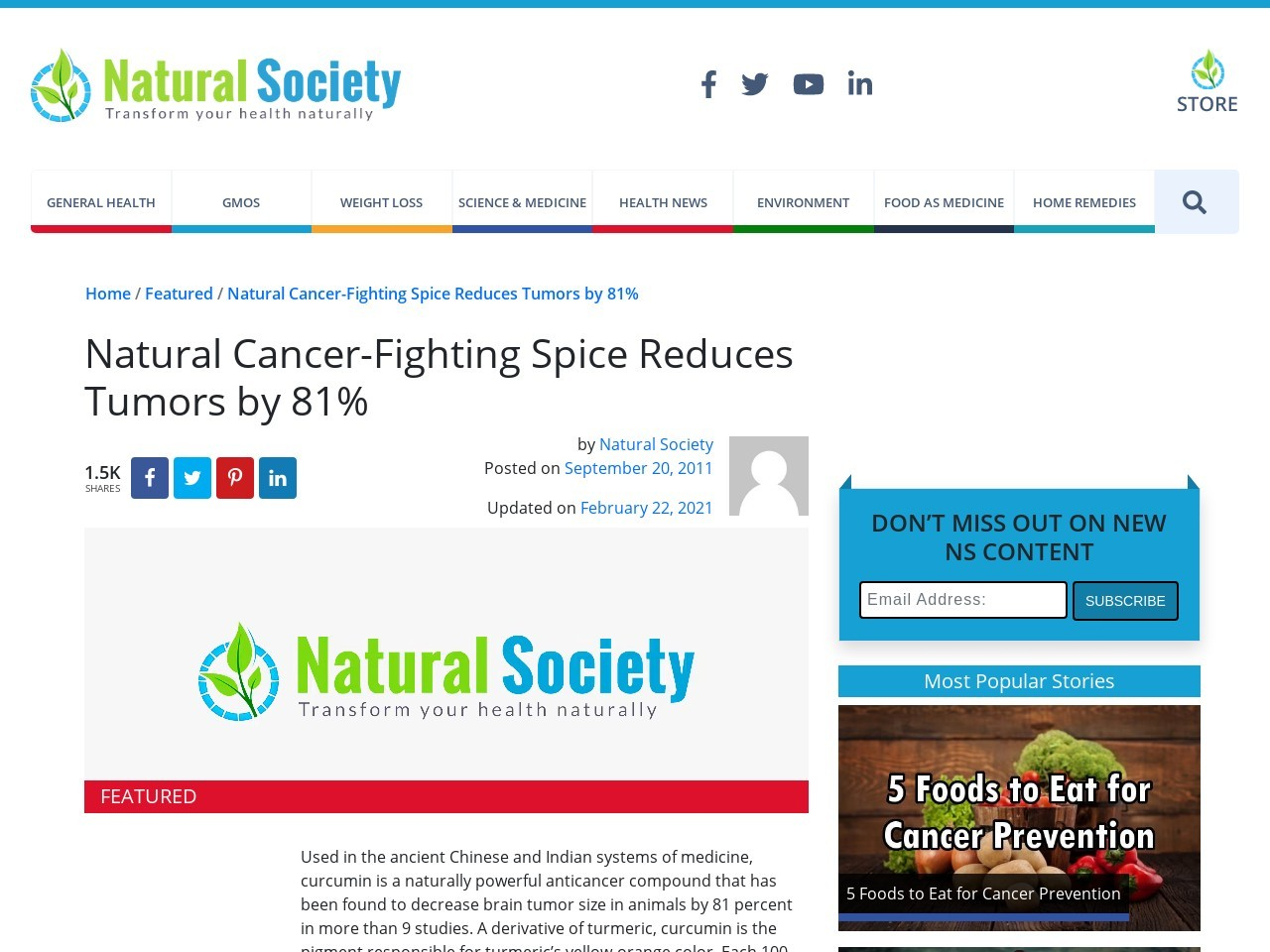 Natural Cancer-Fighting Spice Curcumin Reduces Tumors …