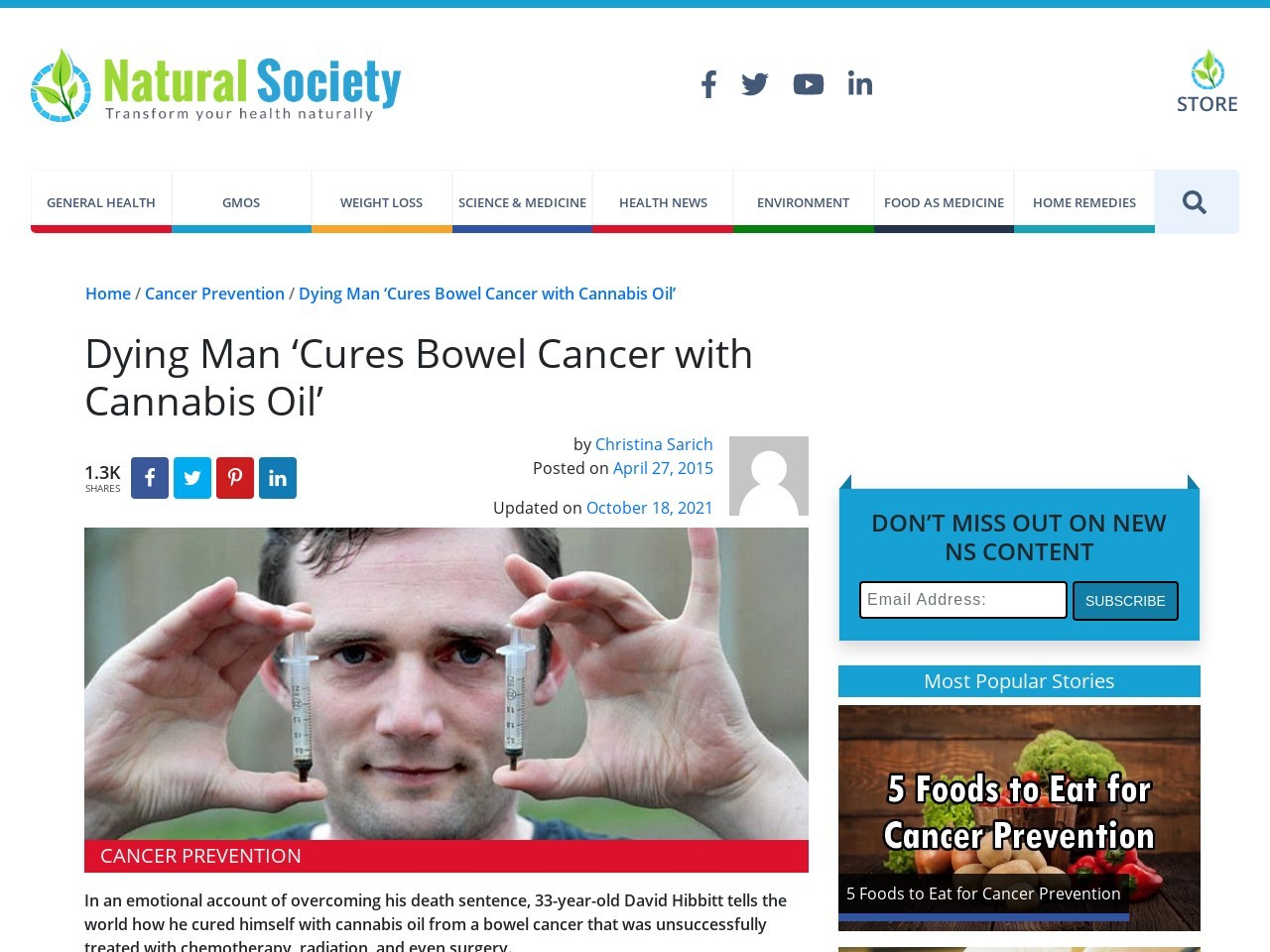 Dying Man 'Cures Bowel Cancer with Cannabis Oil'
