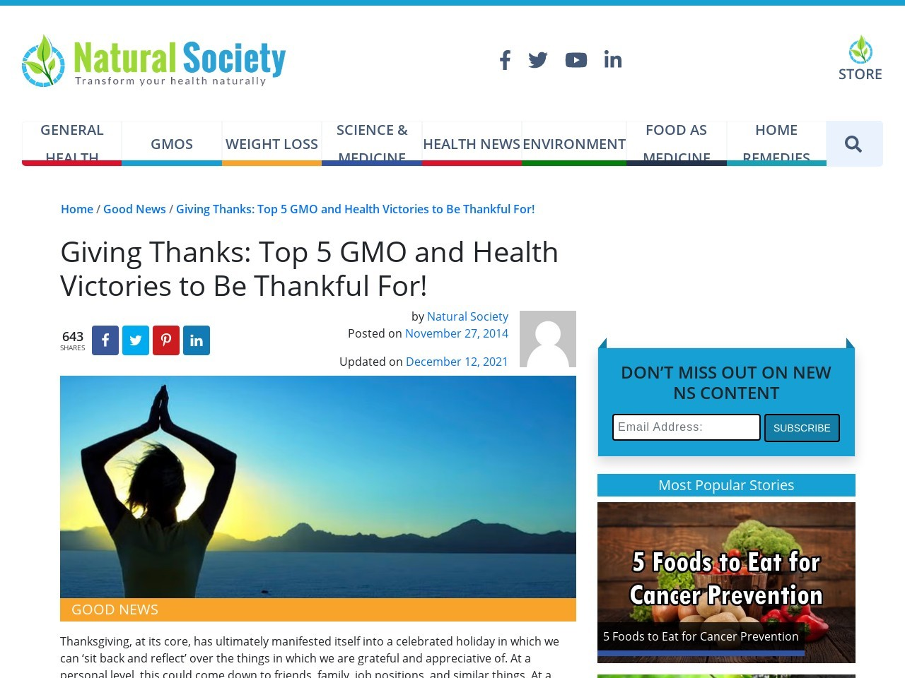 Giving Thanks: Top 5 GMO and Health Victories to Be Thankful For!