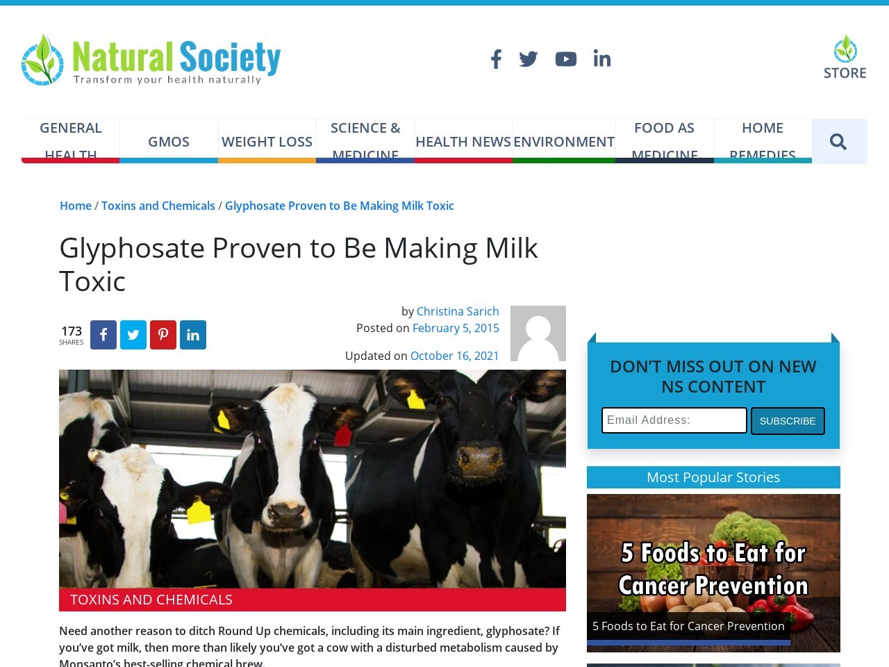 Glyphosate Proven to Be Making Milk Toxic