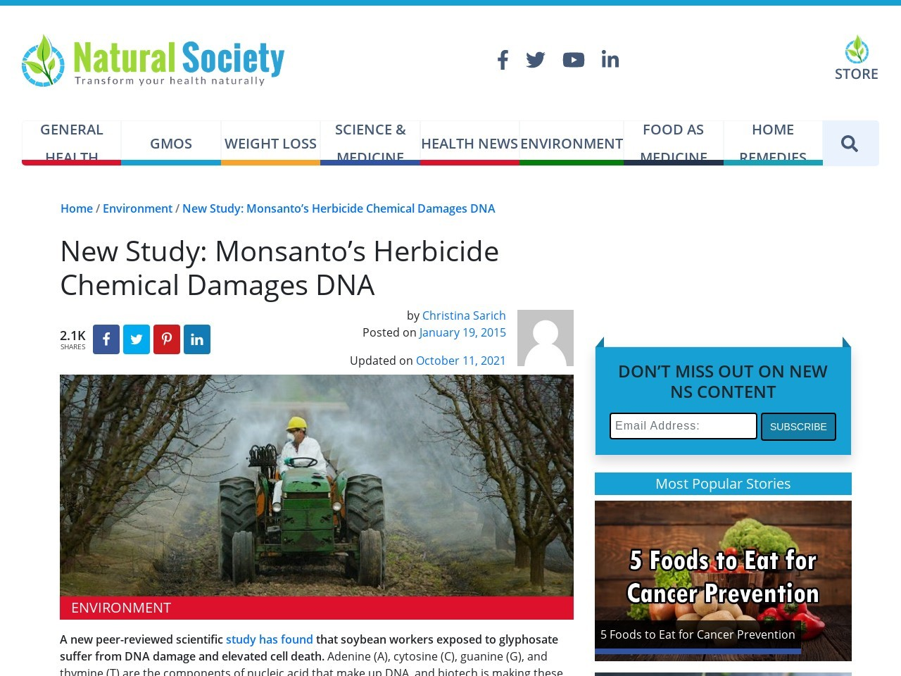 New Study: Monsanto's Herbicide Chemical Damages DNA