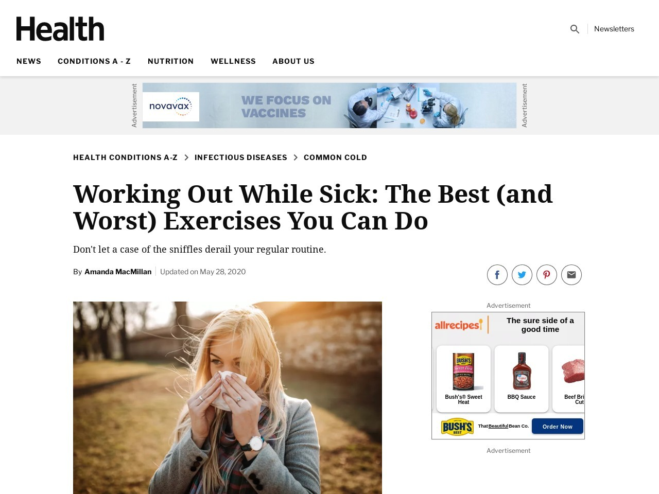 Is It OK to Work Out When You're Sick? – Health News and …