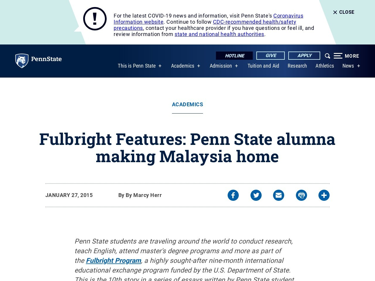 Fulbright Features: Penn State alumna making Malaysia home