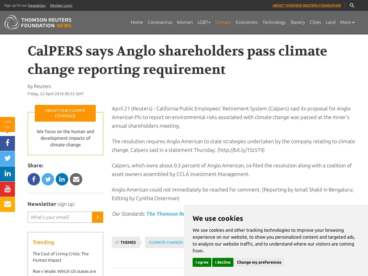 CalPERS says Anglo shareholders pass climate change reporting requirement