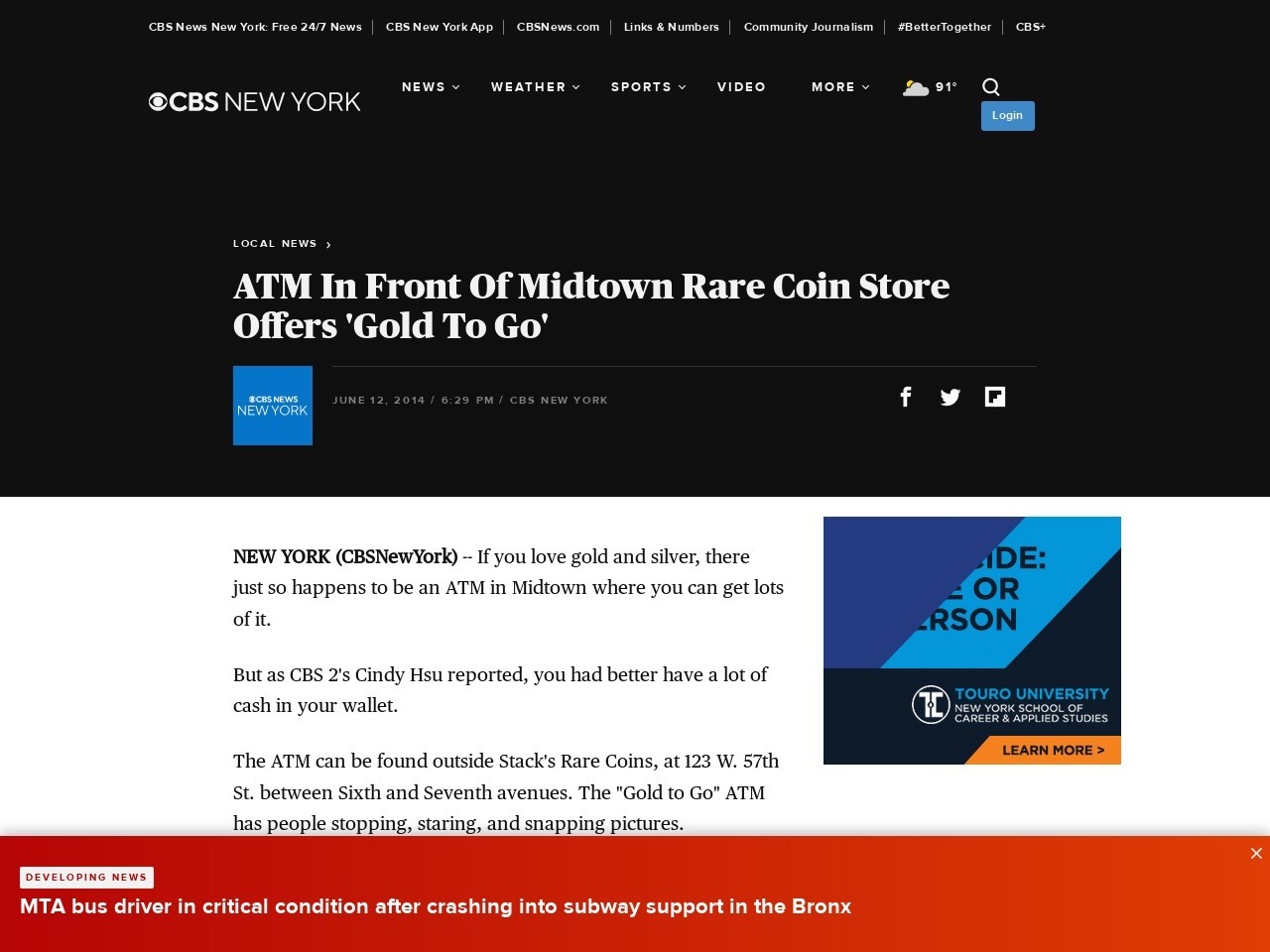 ATM In Front Of Midtown Rare Coin Store Offers 'Gold To Go'