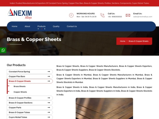 Best Quality Exporters, Stockist, Manufacturer & Supplier of Copper Brass Sheet in Mumbai