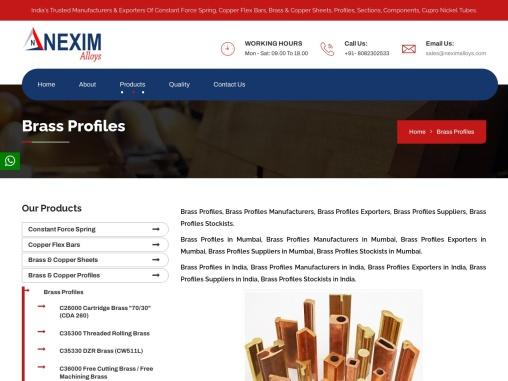 Brass Profiles Manufacturers Exporters   Nexim Alloys
