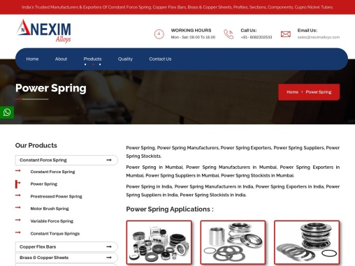 Power Spring Manufacturers|Exporters| Nexim Alloys