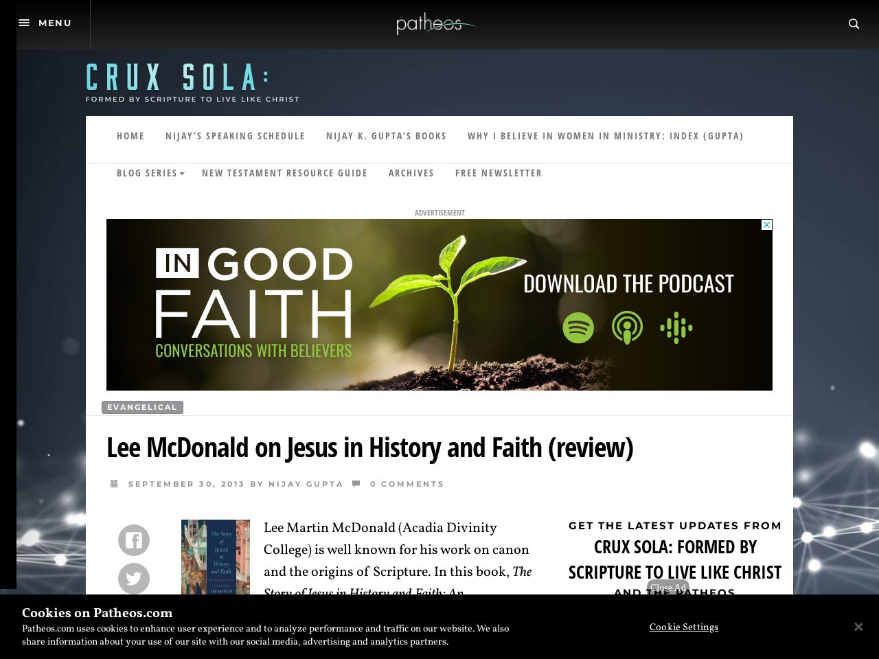 Lee McDonald on Jesus in History and Faith (review) « Crux Sola