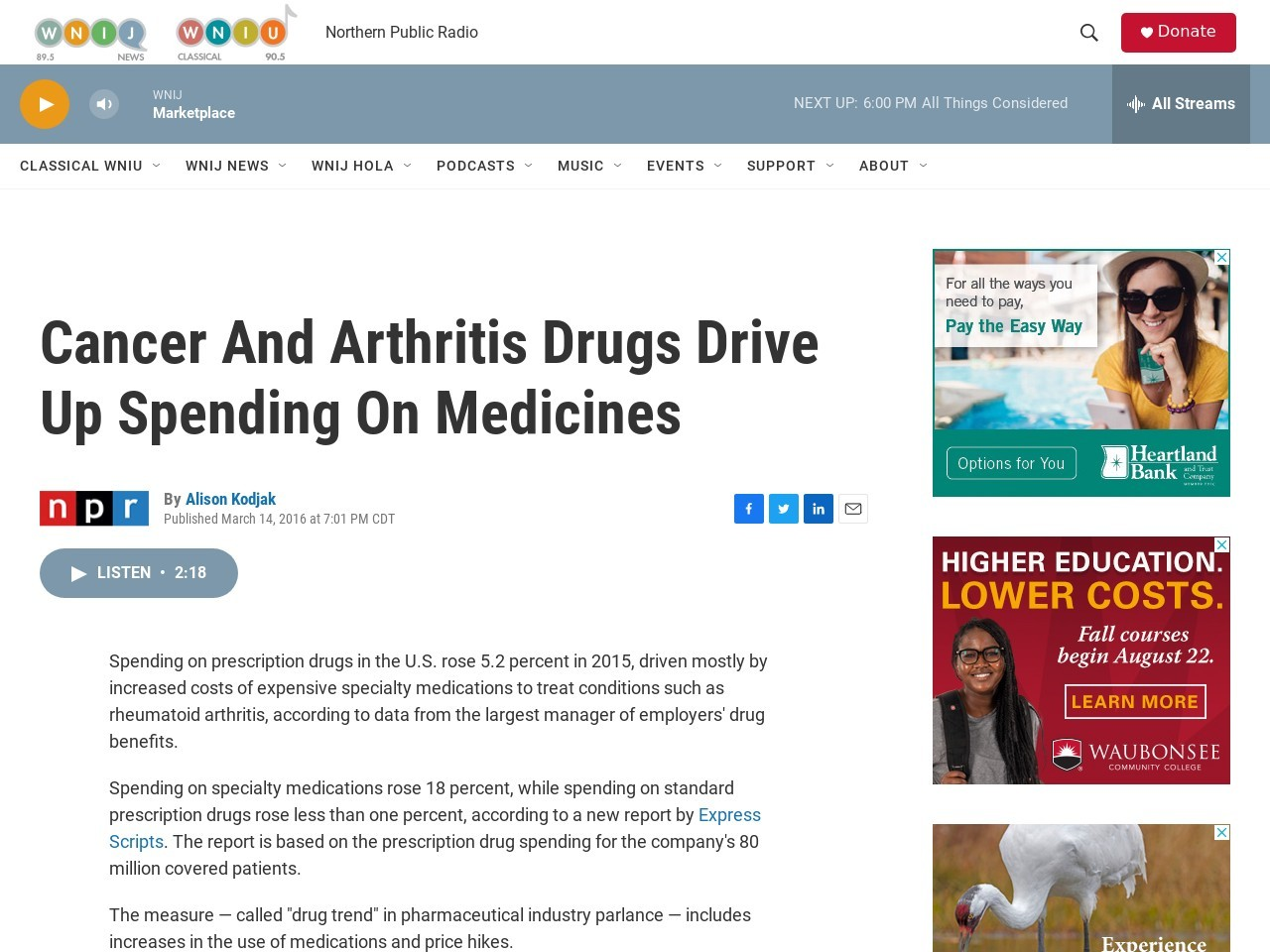 Cancer And Arthritis Drugs Drive Up Spending On Medicines
