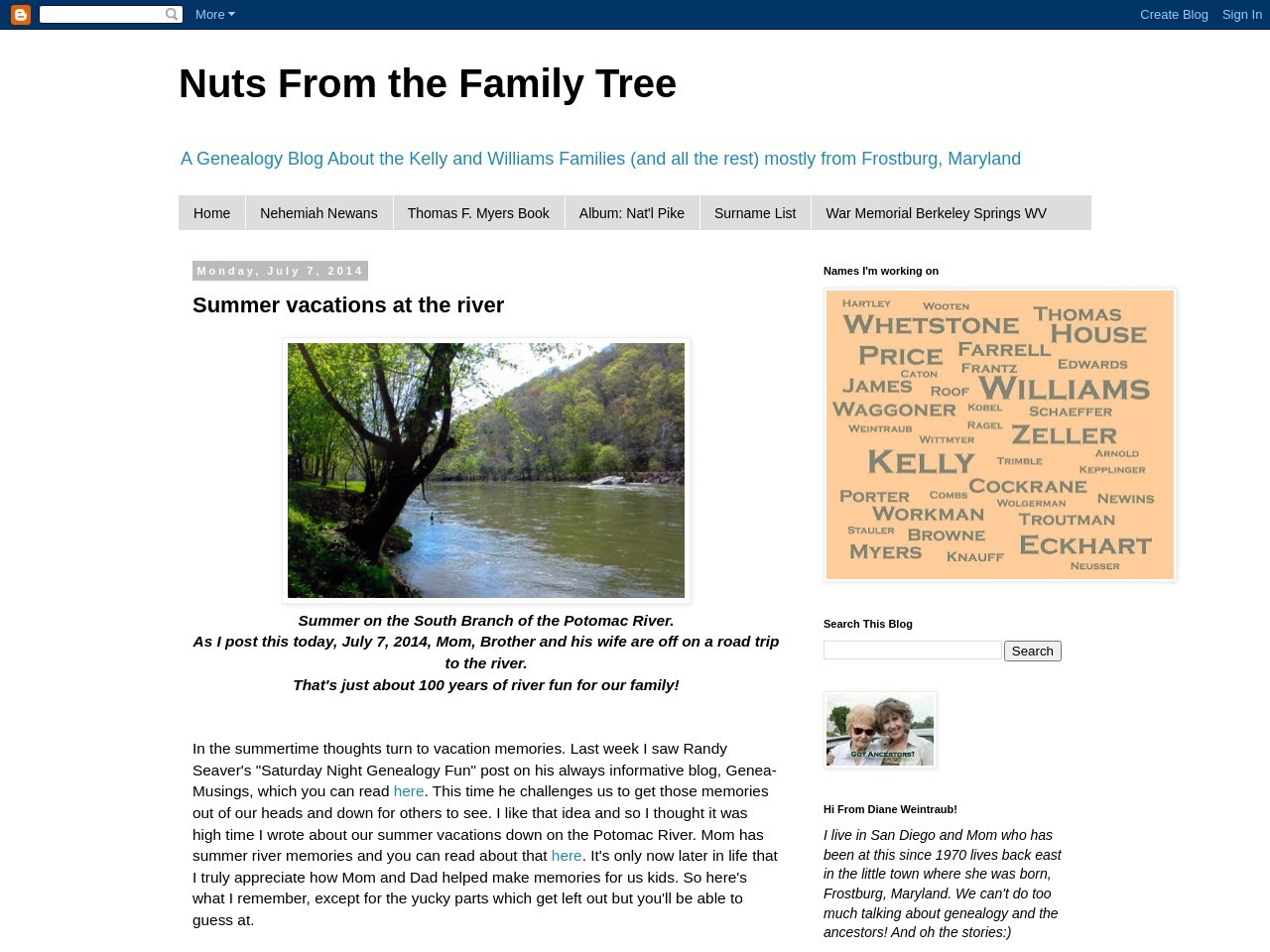 Nuts From the Family Tree: Summer Vacations at the river