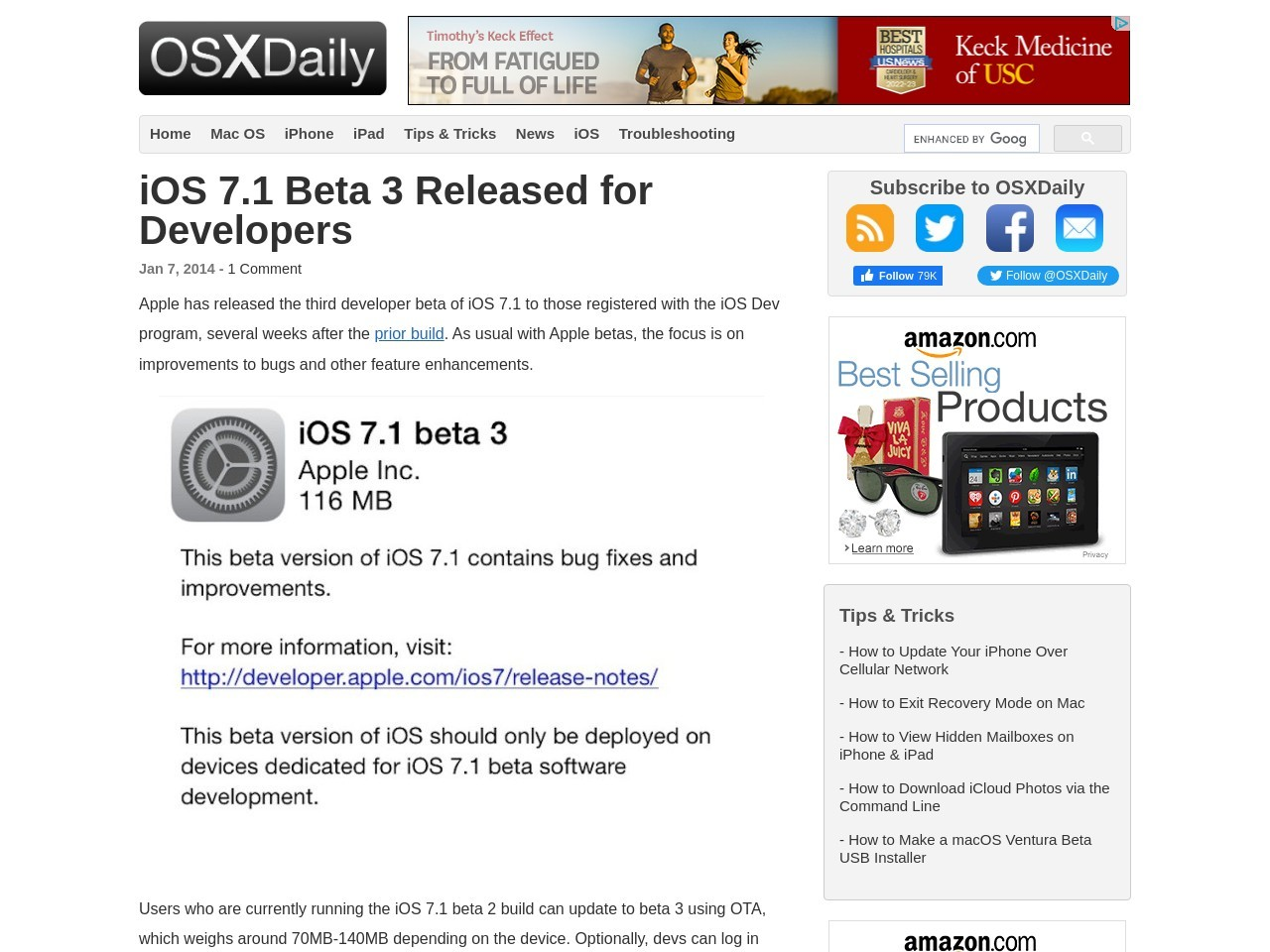 iOS 7.1 Beta 3 Released for Developers – OS X Daily