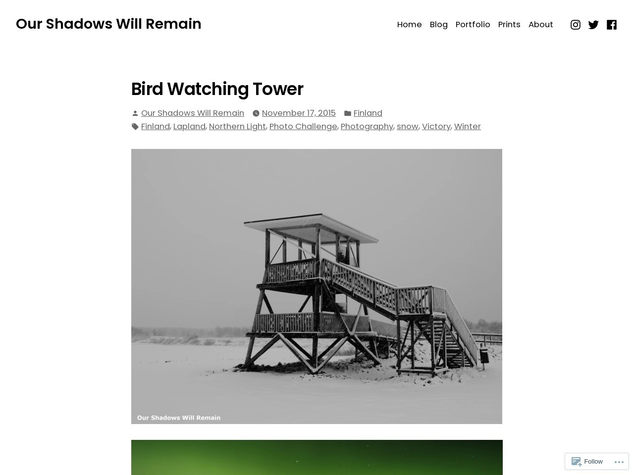 Bird Watching Tower | Our Shadows Will Remain
