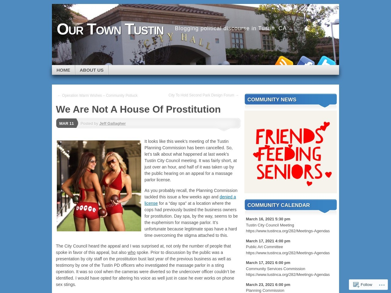 We Are Not A House Of Prostitution | Our Town Tustin