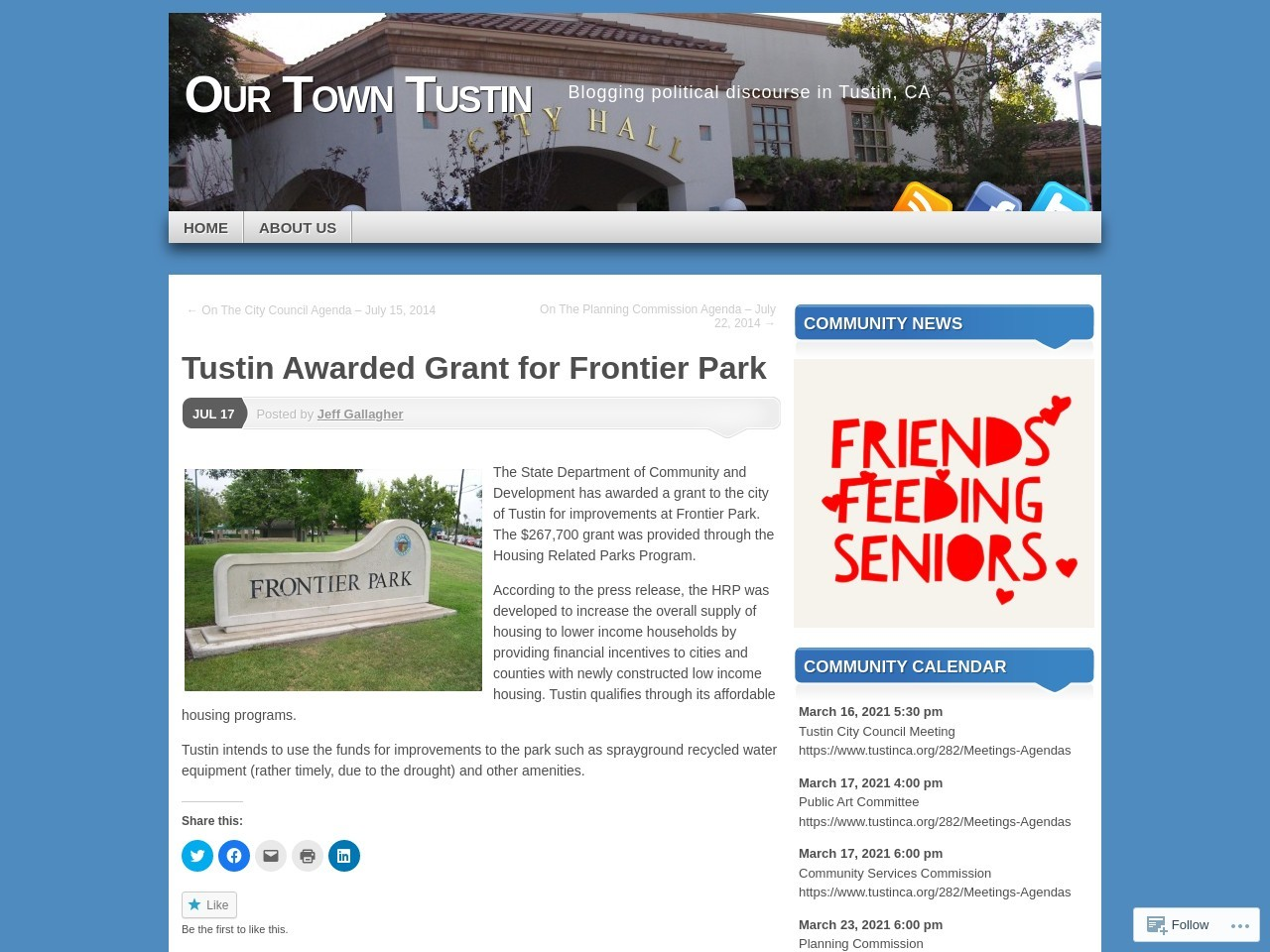 Tustin Awarded Grant for Frontier Park | Our Town Tustin
