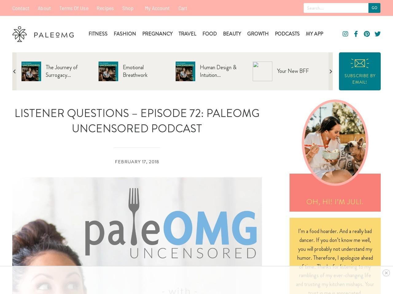Listener Questions – Episode 72: PaleOMG Uncensored Podcast