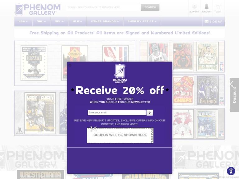 Phenom Gallery Coupon Codes & Promo codes