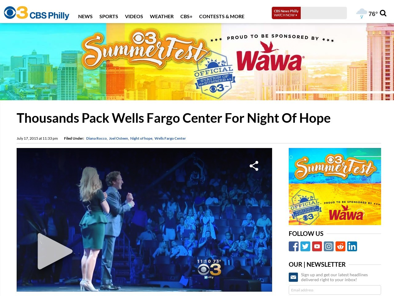 Thousands Pack Wells Fargo Center For Night Of Hope …