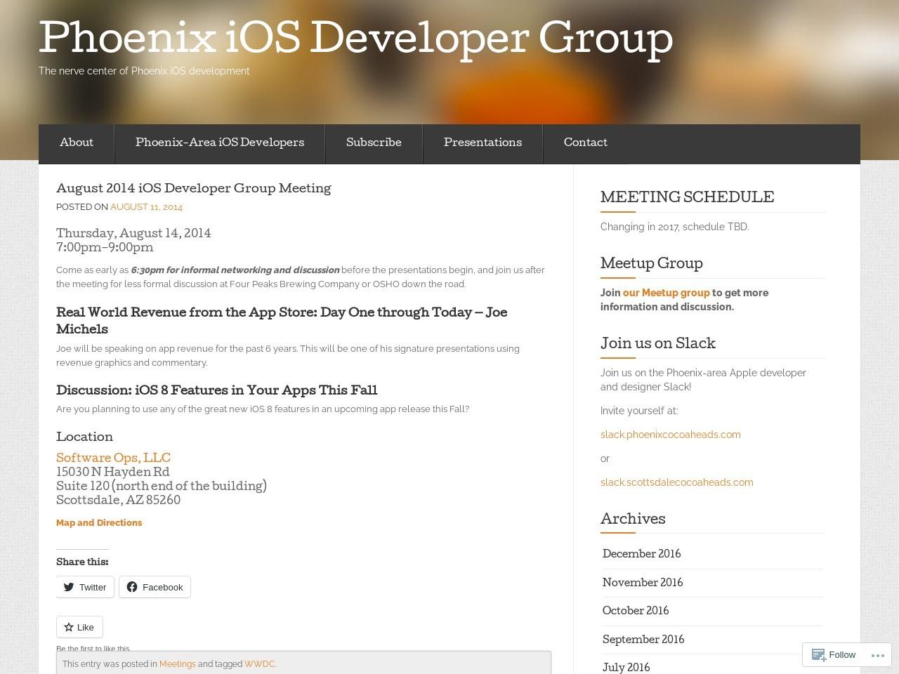 August 2014 iOS Developer Group Meeting – Phoenix iOS …