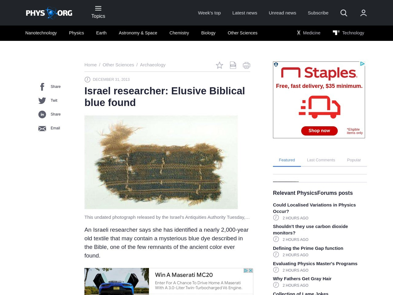 Israel researcher: Elusive Biblical blue found – Phys.org