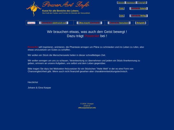 Die Informationsseite von PowerArt