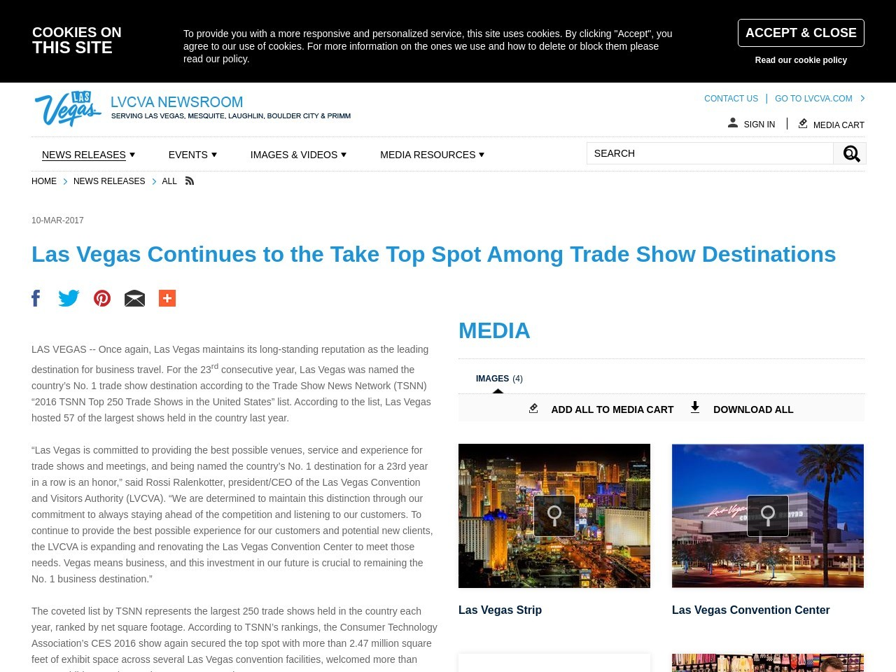 Las Vegas Continues to the Take Top Spot Among Trade Show Destinations