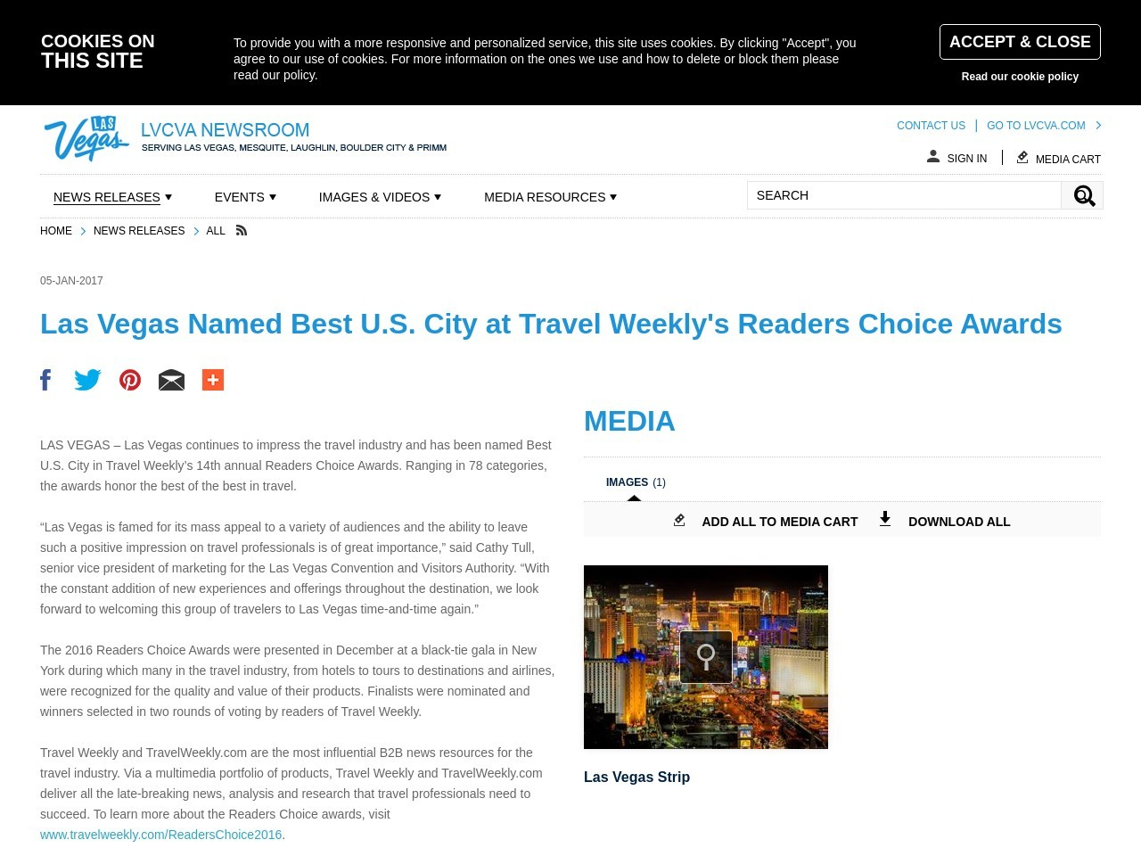 Las Vegas Named Best U.S. City at Travel Weekly's Readers Choice Awards