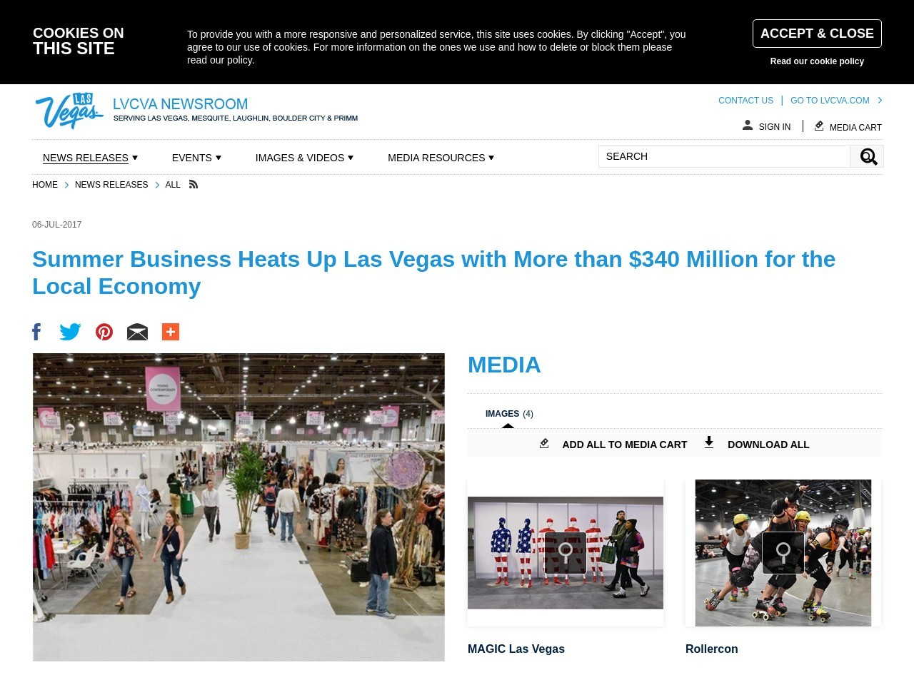 Summer Business Heats Up Las Vegas with More than $340 Million for the Local Economy
