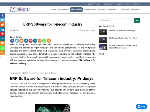 ERP Software for Telecom Industry | Pridesys IT Ltd