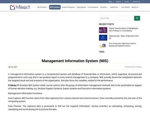 Management Information System Software   Pridesys IT Ltd