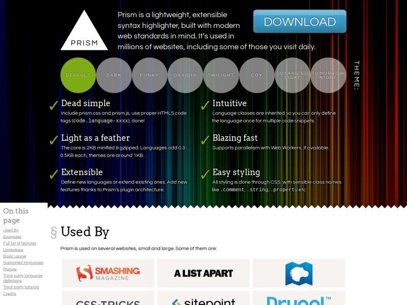 Prism | 軽量なシンタックスハイライター