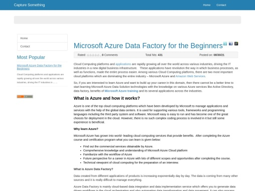 Microsoft Azure Data Factory for the Beginners