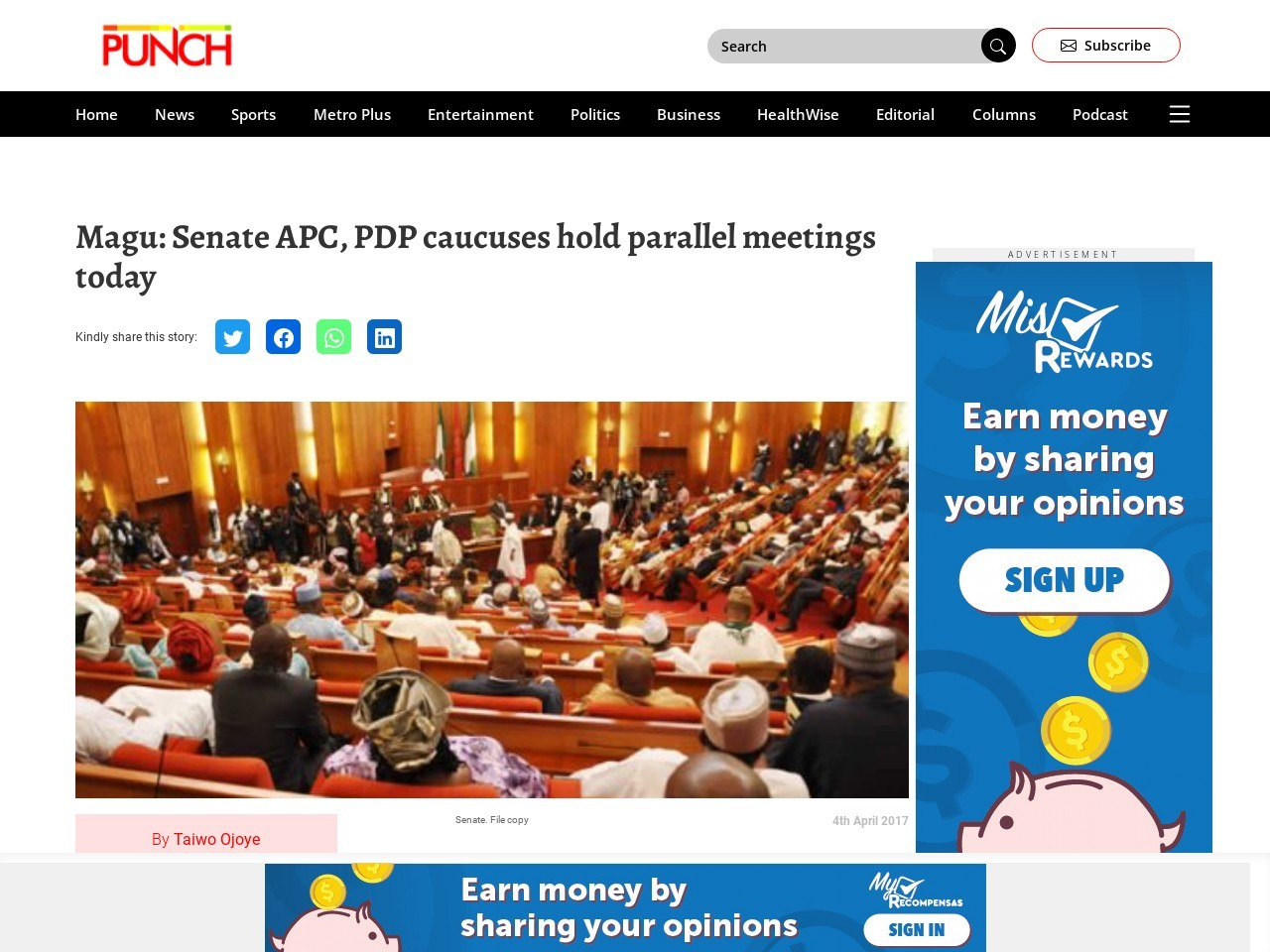 Magu: Senate APC, PDP caucuses hold parallel meetings today